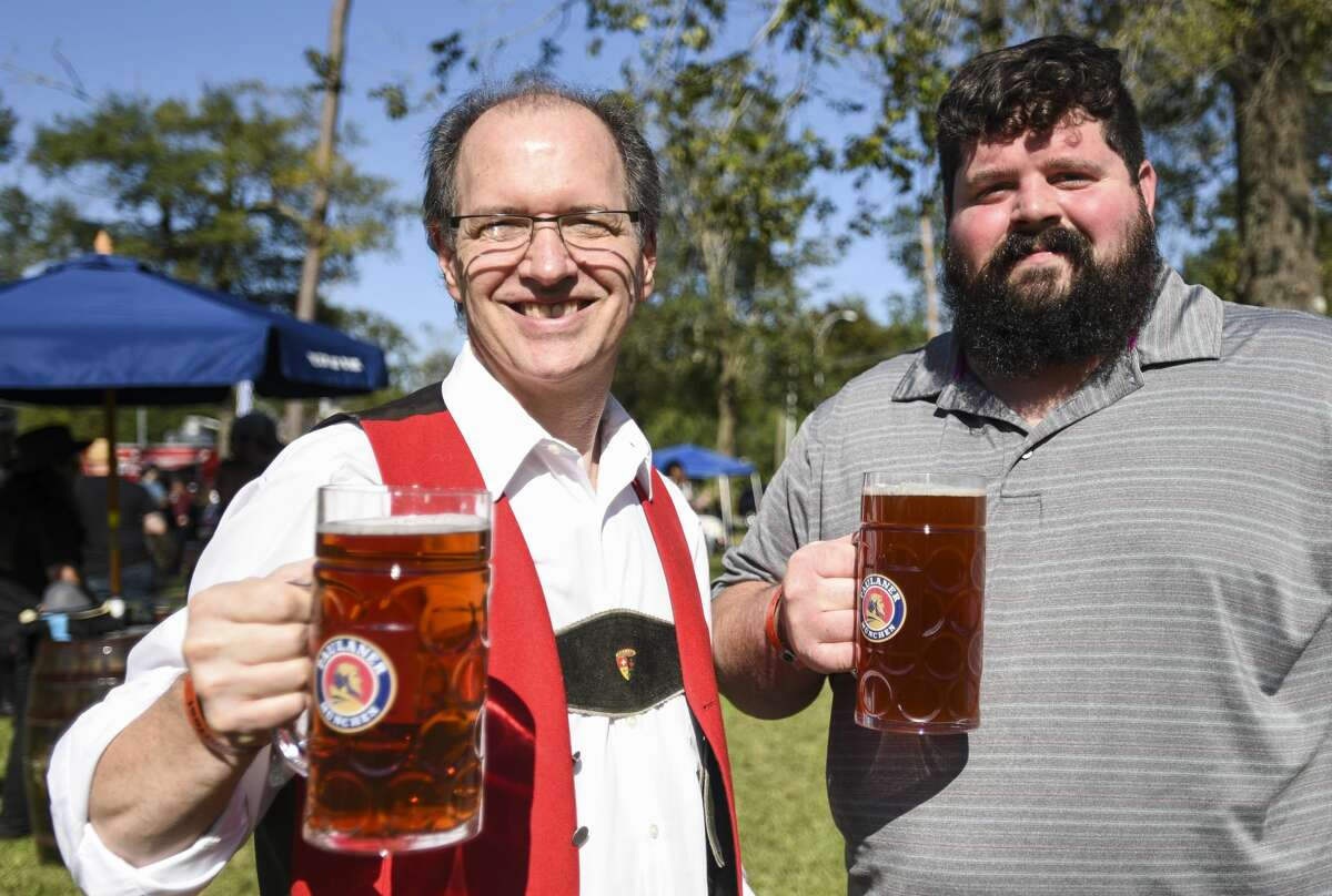 People enjoy beer, food and live music at Beaumont's Oktoberfest Saturday afternoon. Photo taken on Saturday, 10/12/19. Ryan Welch/The Enterprise
