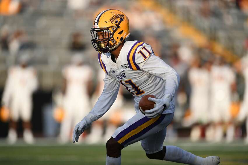 UAlbany senior wide receiver Jerah Reeves had 10 catches for 143 yards in Saturday's win at Towson. (ENP Photography)