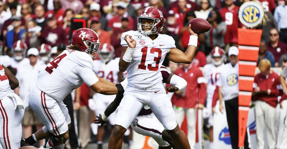 COLLEGE STATION, TEXAS - OCTOBER 12: Quarterback Tua Tagovailoa #13 of the Alabama Crimson Tide throws a pass during the game against Texas A&M Aggies at Kyle Field on October 12, 2019 in College Station, Texas. (Photo by Logan Riely/Getty Images) Photo: Logan Riely/Getty Images