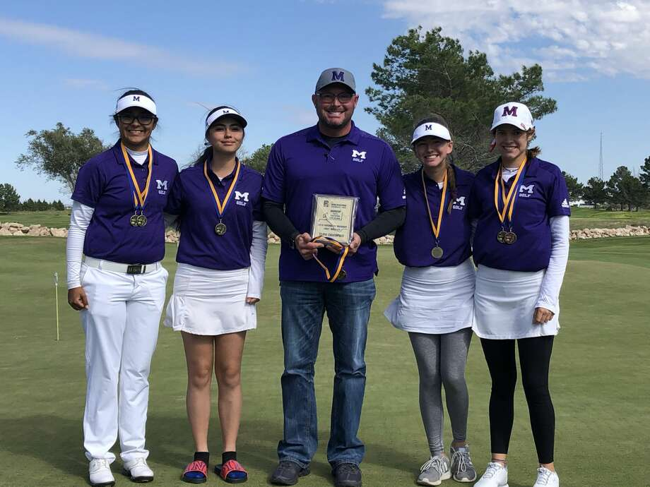 Head coach Bryan Sledge, center, and the Midland High girls golf team pose with their first-place plaque after winning the Rockwind Roundup, Saturday in Hobbs, New Mexico. Photo: Courtesy Photo