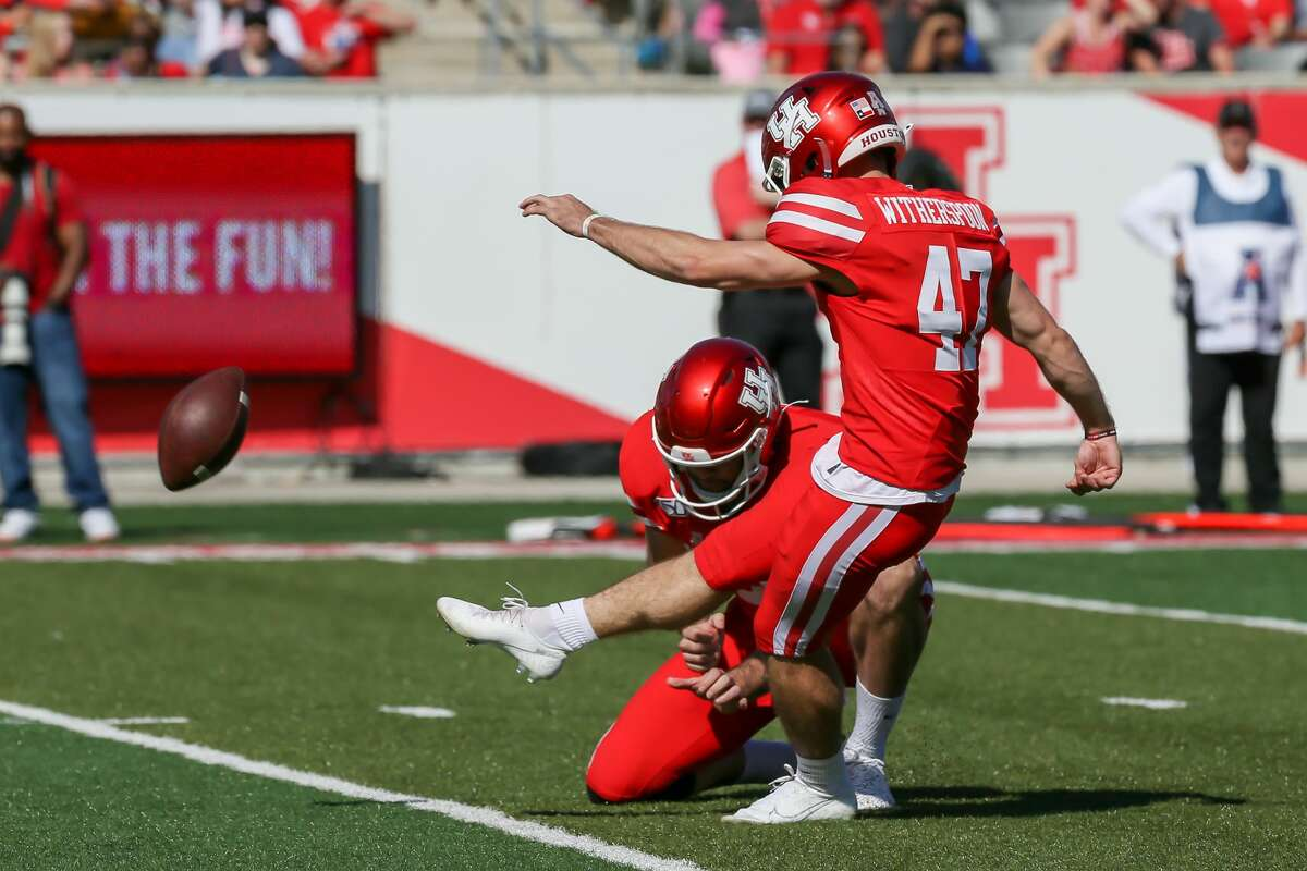 Houston Cougars kicker Damon Witherspoon(47) kicks for an extra point during second quarter of the college football game between the Cincinnati Bearcats and Houston Cougars at TDECU Stadium, October 12, 2019 in Houston, TX.
