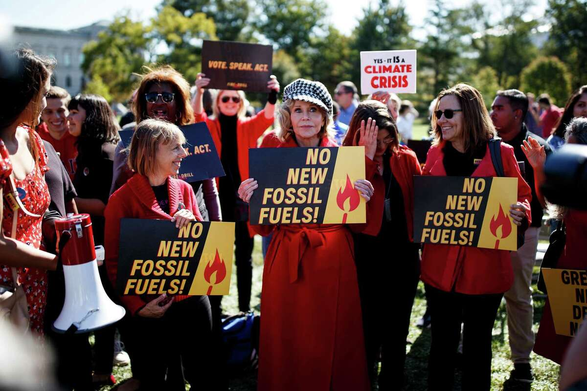 Jane Fonda and a group of climate change activists protest on Capitol Hill in Washington, Oct. 11, 2019. Fonda, 81, was one of 16 people charged with unlawfully demonstrating on the East Front of the Capitol on Friday, a misdemeanor under a Washington D.C. law. (Ting Shen/The New York Times)