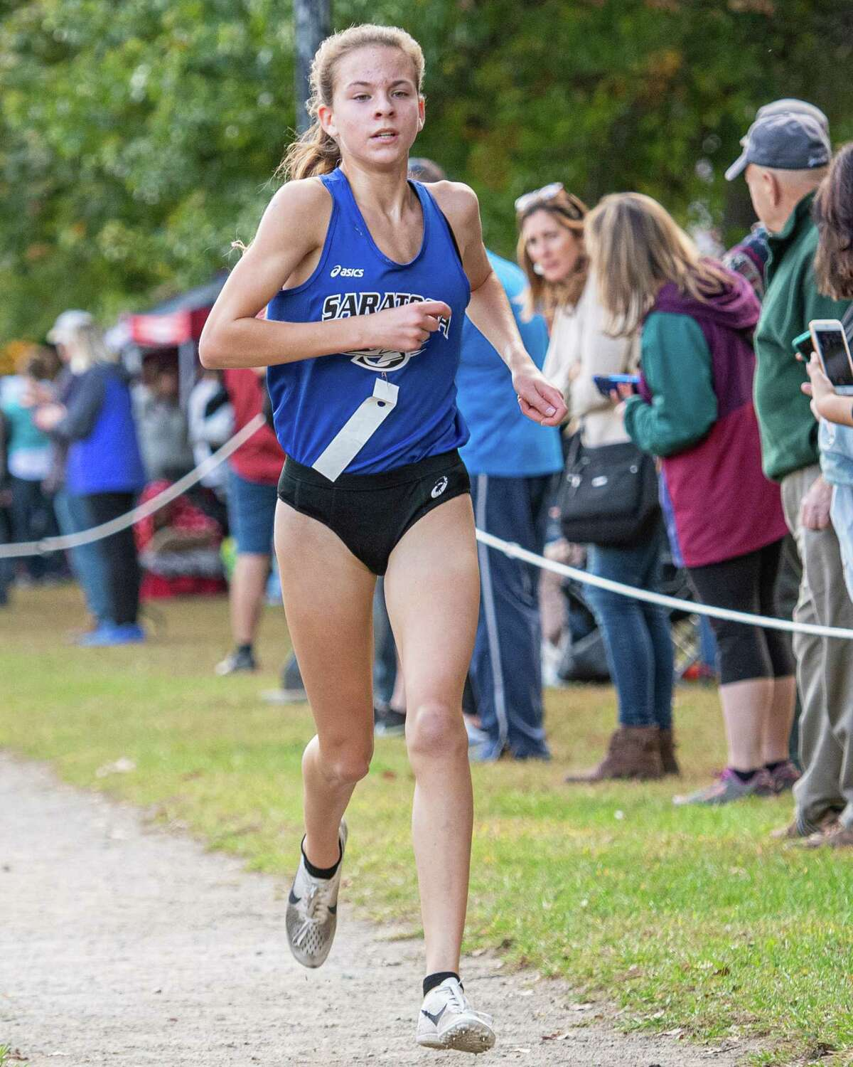 Sheridan Wheller, of Saratoga High School, places third in the girls Division III cross country race of the 38th Annual Burnt Invitational held at the Saratoga Spa State Park on Saturday, Oct. 12, 2019 (Jim Franco/Special to the Times Union.)