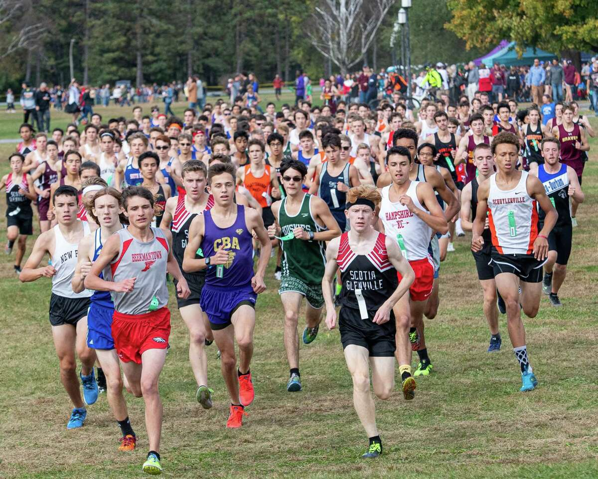 The boys Division II cross country race of the 38th Annual Burnt Invitational held at the Saratoga Spa State Park on Saturday, Oct. 12, 2019 (Jim Franco/Special to the Times Union.)
