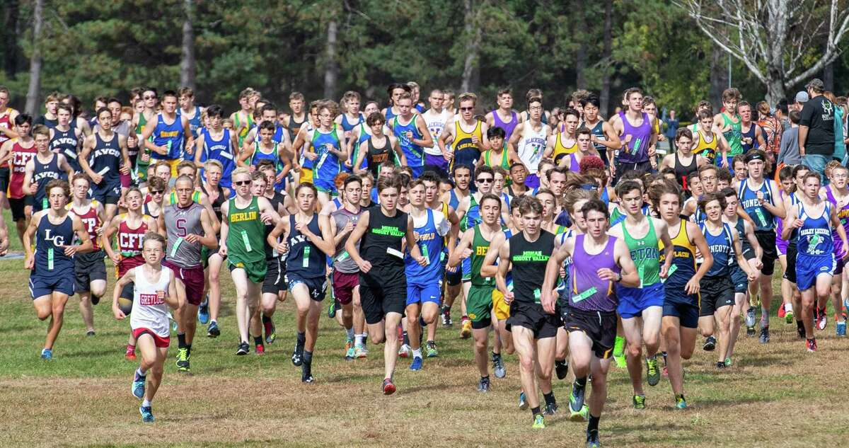 The boys Division I cross country race of the 38th Annual Burnt Invitational held at the Saratoga Spa State Park on Saturday, Oct. 12, 2019 (Jim Franco/Special to the Times Union.)