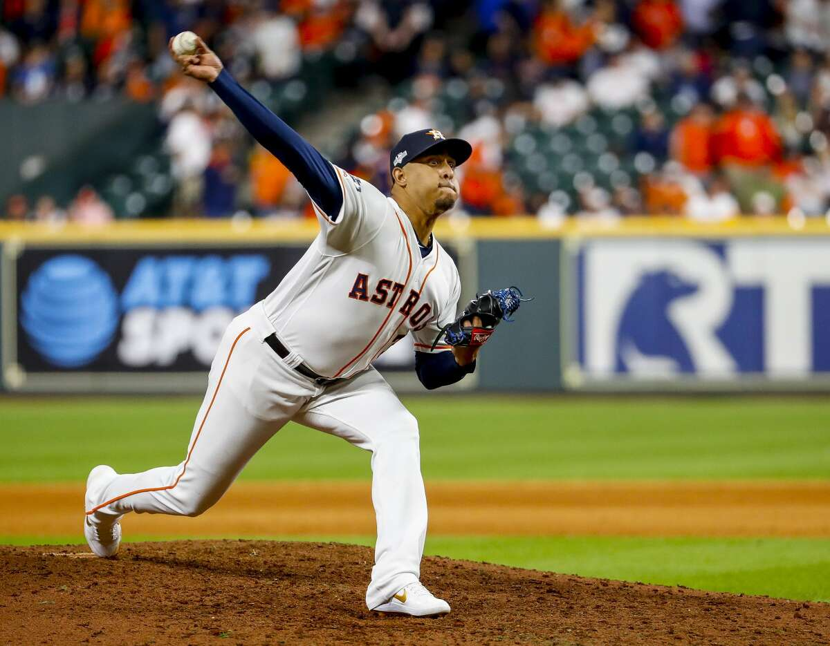 Houston Astros relief pitcher Hector Rondon (30) pitches during the ninth inning of Game 1 of the American League Championship Series at Minute Maid Park on Saturday, Oct. 12, 2019, in Houston.