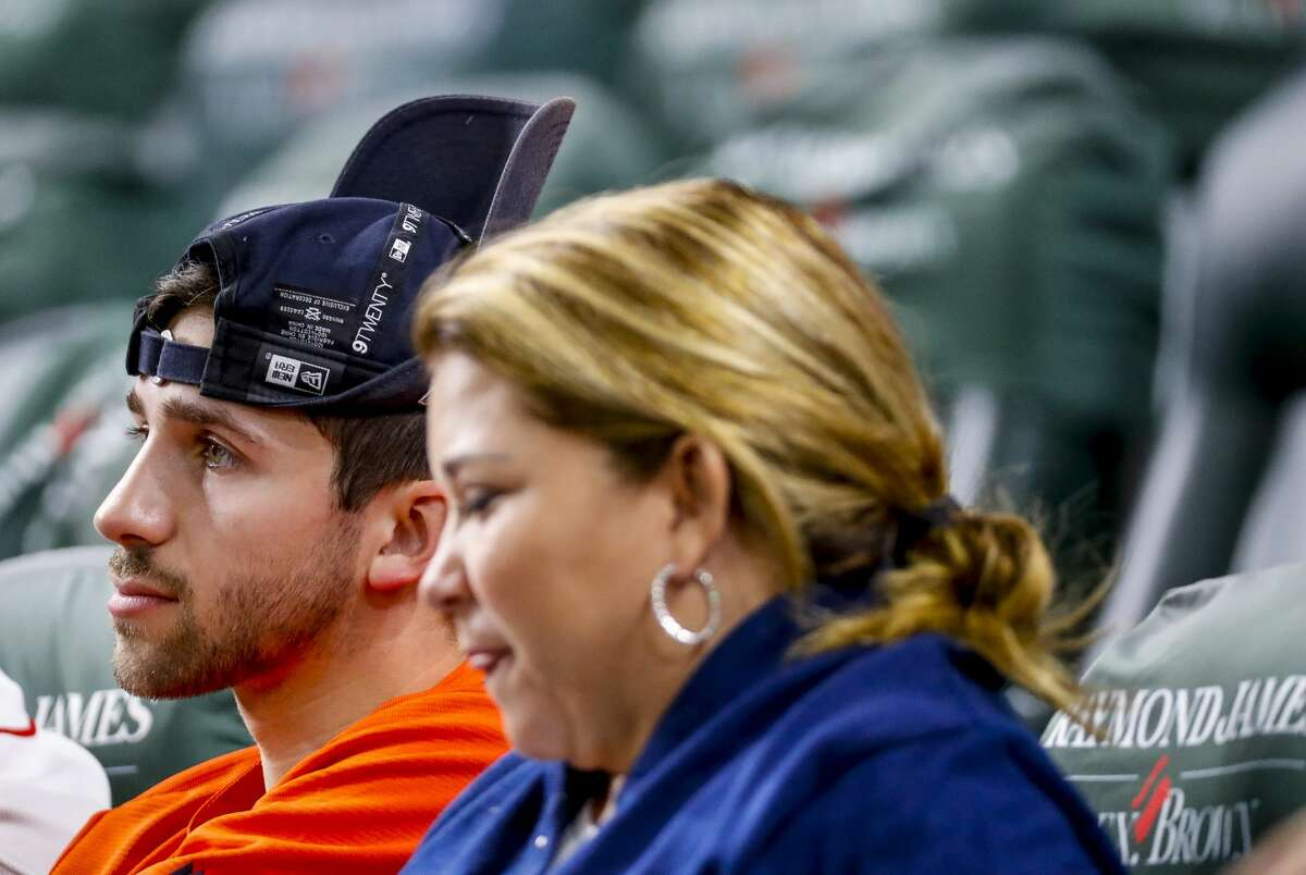 Astros fans watch the ninth inning of a 7-0 lead by the Yankees during Game 1 of the American League Championship Series at Minute Maid Park on Saturday, Oct. 12, 2019, in Houston.