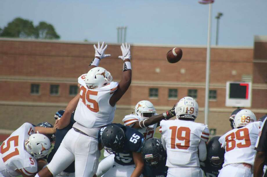 Someone in a white jersey got a hand on this attempted field goal by Kingwood Saturday afternoon, preserving the shutout. Twice in the second quarter Kingwood field-goal tries went awry. Photo: Robert Avery