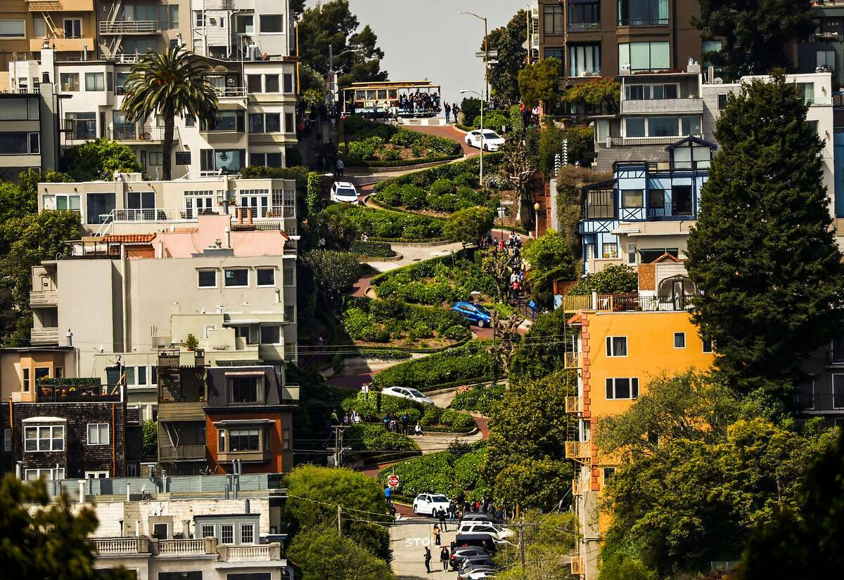 A view of Lombard Street in San Francisco, California, on Sunday, April 14, 2019.