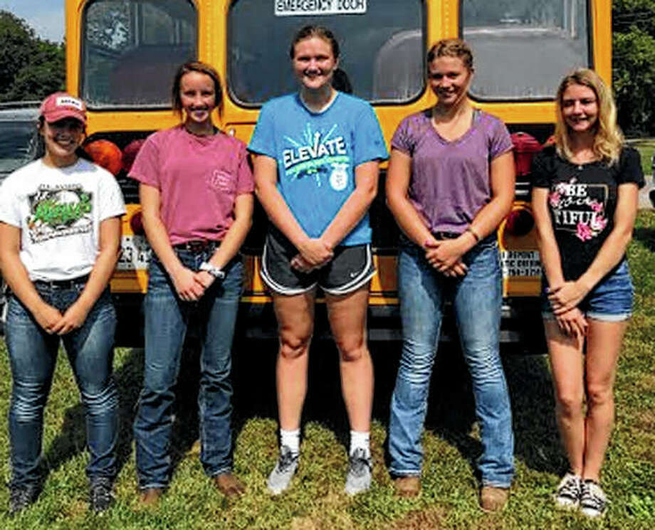 Bluffs FFA chapter members attended a forestry competition Sept. 17 in Pittsfield. The Varsity team placed fourth overall while team member Morgan Hoots placed second in individual competition. The Greenhand team placed fifth overall. Varsity members attending were Kaydence Gregory (above, from left), Anna Merriman, Morgan Hoots, Ashley Gregory and Caleigh Jones. Greenhand members attending were Jayden Moore (right, from left) and Maggie Beddingfield. Photo: Photos Provided