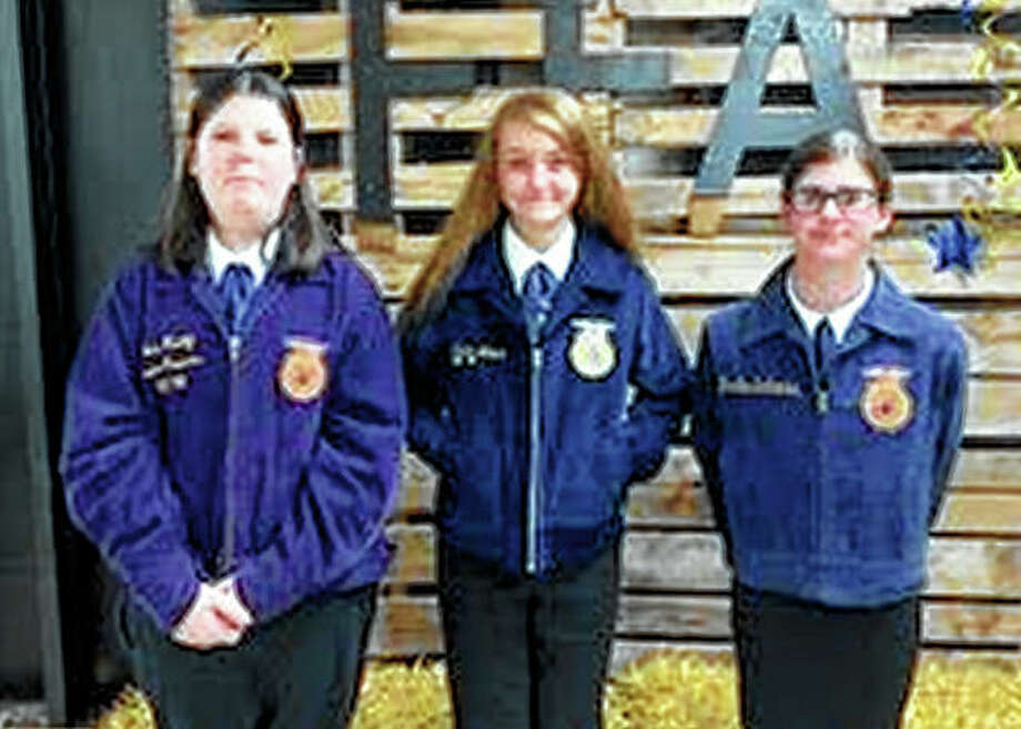 Members of the Bluffs FFA chapter's Quiz Bowl team competed Sept. 18, finishing in third place. Team members include Devin Anderson (from left), Jayden Moore and Maggie Beddingfield. Photo: Photo Provided