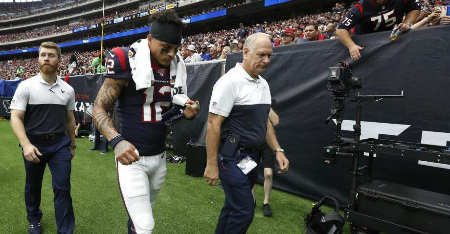 Houston Texans wide receiver Kenny Stills (12) walks back to the locker room during the first half of an NFL football game at NRG Stadium on Sunday, Sept. 29, 2019, in Houston. Photo: Karen Warren/Staff Photographer