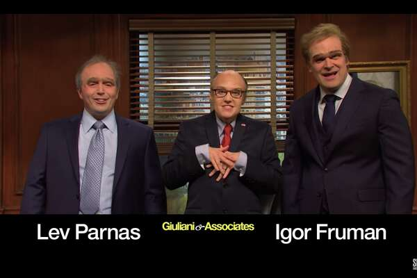 """Rudy Giuliani (Kate McKinnon) and associates (Beck Bennett and host David Harbour) make light of the skills of President Trump's lawyer on """"Saturday Night Live."""""""
