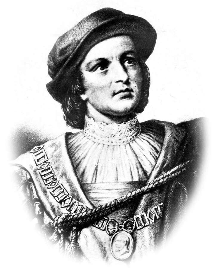 TODAY IN HISTORY/TUE 04 17 01/CHRISTOPHER COLUMBUS -- Christopher Columbus, illustration (unknown artist) (date unknown) On April 17, 1492, Columbus signed a contract with a representative of Spain's King Ferdinand and Queen Isabella, giving Columbus a commission to seek a westward ocean passage to Asia. CREDIT: EXPRESS-NEWS FILE PHOTO Photo: EXPRESS-NEWS FILE PHOTO