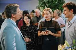 "(L-r) Michael Shanks as Rick Singer, Mia Kirshner as Bethany, Penelope Ann Miller as Caroline and Sam Duke as Danny in ""The College Admissions Scandal."""