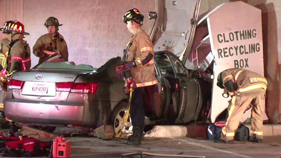 The driver of a pick-up truck driving north on Chimney Rock Road collided with a car westbound on Bellaire Boulevard early Sunday. Photo: Metro Video Services