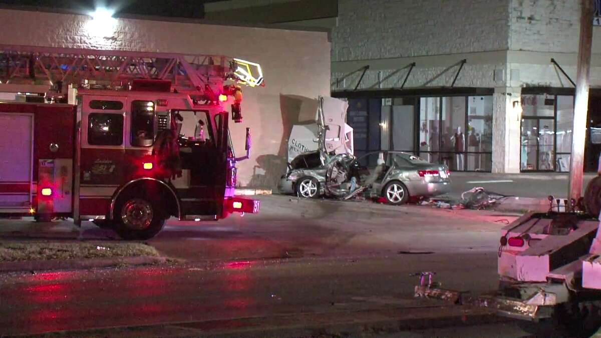 The driver of a pick-up truck driving north on Chimney Rock Road collided with a car westbound on Bellaire Boulevard early Sunday.