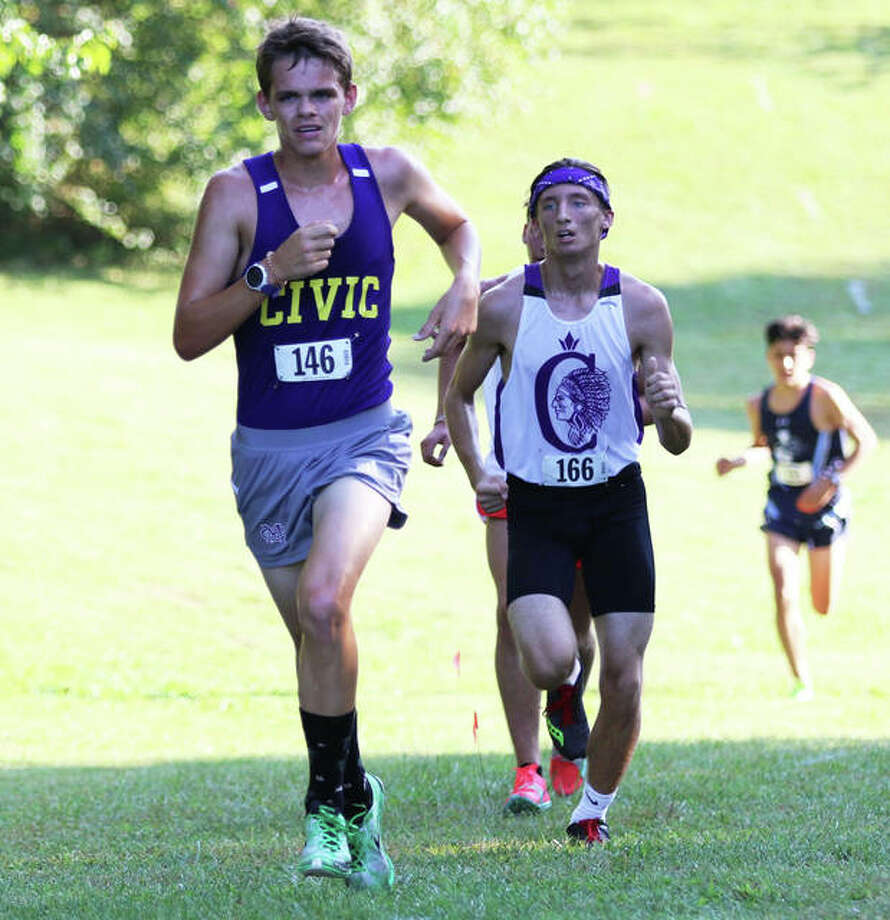 CM's Mark Eldridge (front) runs during the Alton Invite on Sept. 25 at Moore Park. Eldridge was a Belk Park on Saturday and finished first in the Senior Boys Division of the EA-WR Invite in Wood River. Photo: Greg Shashack / The Telegraph