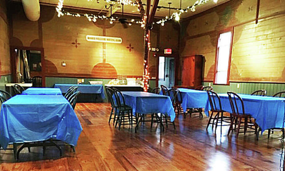 The historic Farley Music Hall in Elsah had its first rental last week after flooding in May and June made the building inaccessible to the public. Repairs included replacing the white pine flooring and wainscoting, as well as electrical work and exterior painting. The original milk paint on the interior walls was left untouched during the renovation. Photo: Jane Pfeifer|For The Telegraph