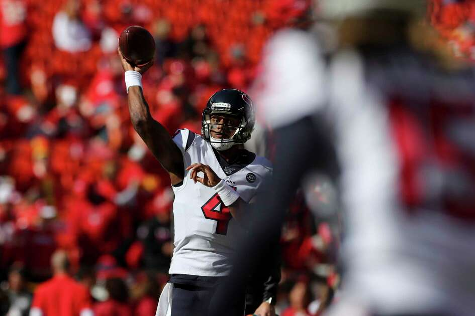 Houston Texans quarterback Deshaun Watson (4) throws the ball during warmups before the start of an NFL game at Arrowhead Stadium Sunday, Oct. 13, 2019, in Kansas City, Mo.