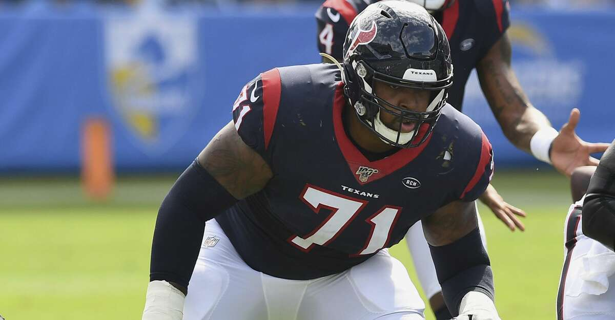 Houston Texans guard/tackle Tytus Howard (71) in action during an NFL football game against the Los Angeles Chargers, Sunday, September 22, 2019 in Carson, Calif. The Texans defeated the Chargers 27-20. (AP Photo/John Cordes)