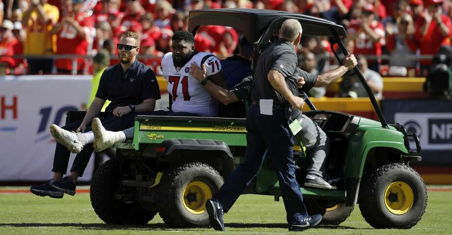 An injured Houston Texans offensive guard Tytus Howard (71) is wheeled off the field during the second half of an NFL football game against the Kansas City Chiefs in Kansas City, Mo., Sunday, Oct. 13, 2019. (AP Photo/Colin E. Braley) Photo: Colin E. Braley/Associated Press
