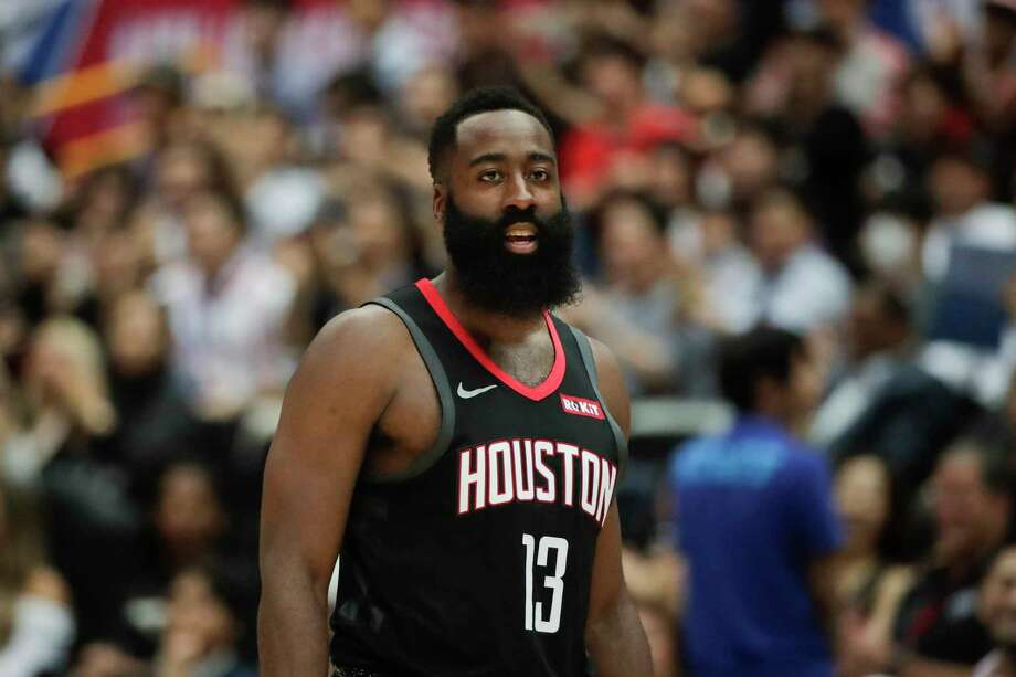 Houston Rockets' James Harden walk on the court during the first half of an NBA preseason basketball game against the Toronto Raptors Tuesday, Oct. 8, 2019, in Saitama, near Tokyo. Photo: Jae C. Hong, STF / Associated Press / Copyright 2019 The Associated Press. All rights reserved.