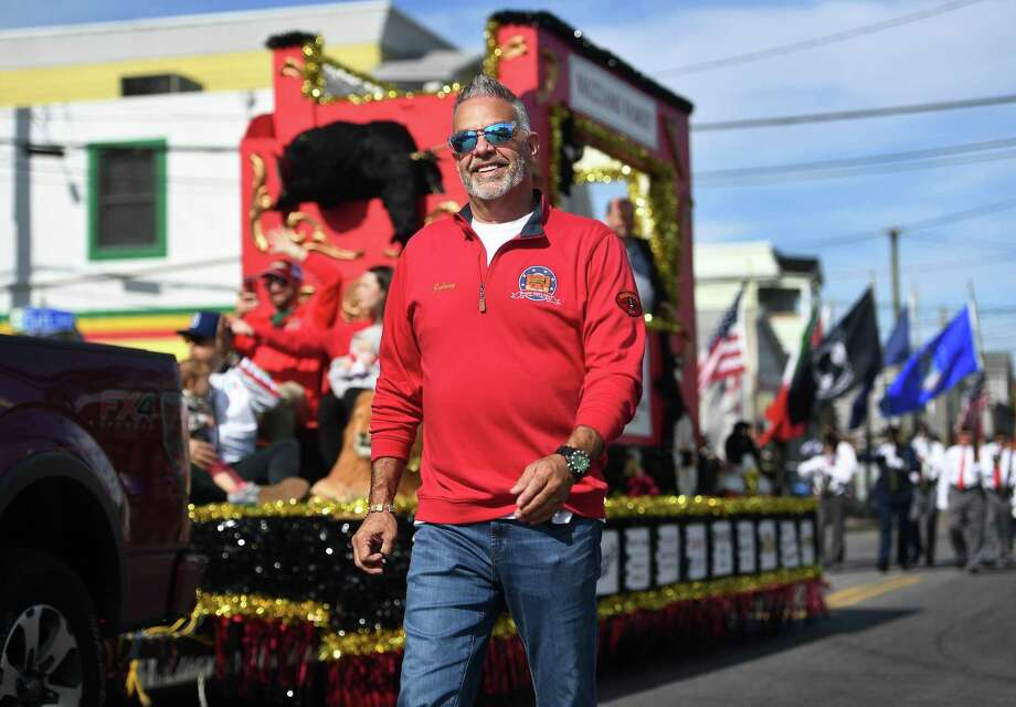 Barnum Festival president and former ringmaster John Vazzano marches with the festival float in the 111th Annual Columbus Day Parade on Madison Avenue in Bridgeport, Conn. on Sunday, October 13, 2019. Photo: Brian Pounds / Hearst Connecticut Media / Connecticut Post