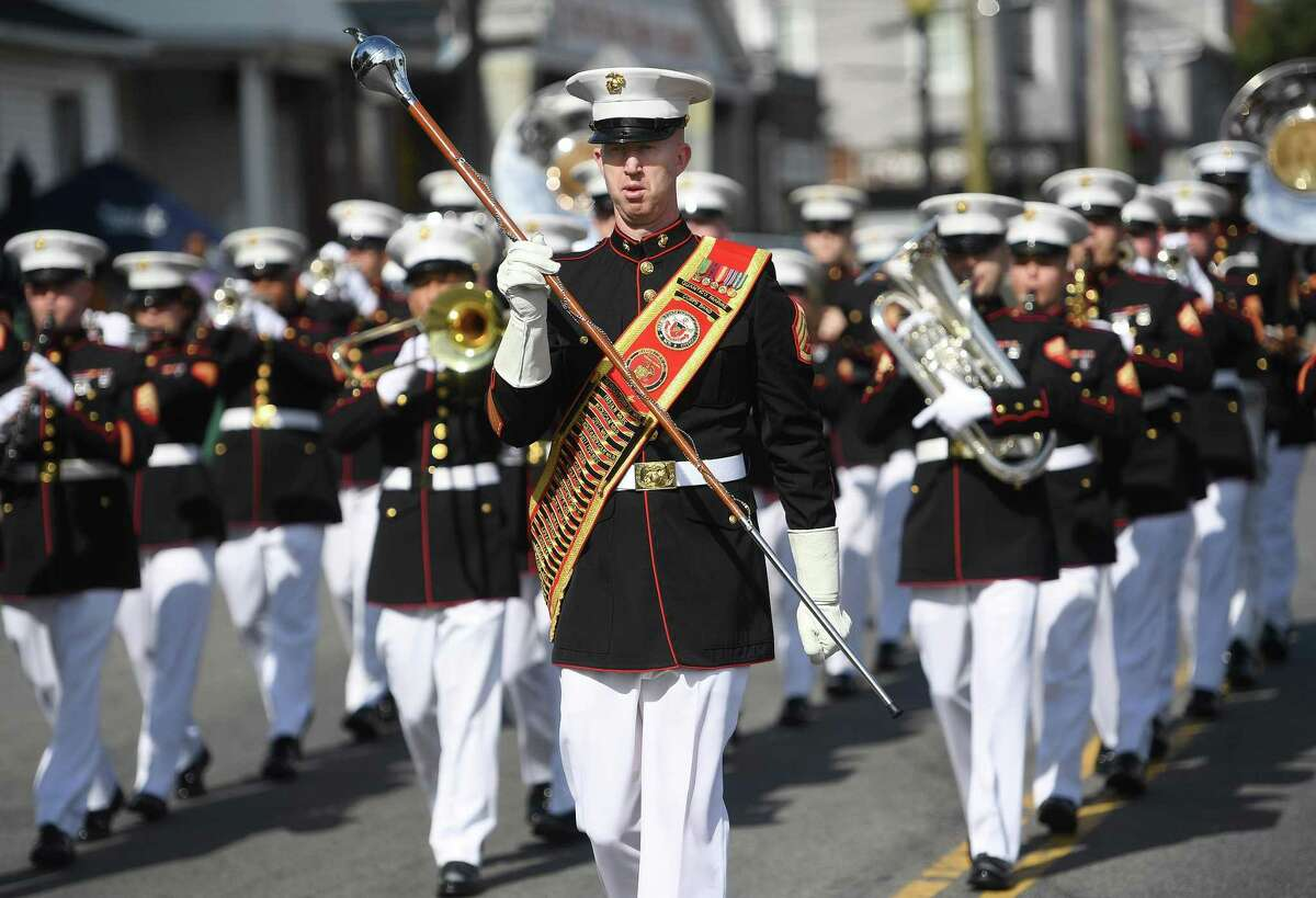 The Marine Corps Band from Quantico, VA, marches while preforming