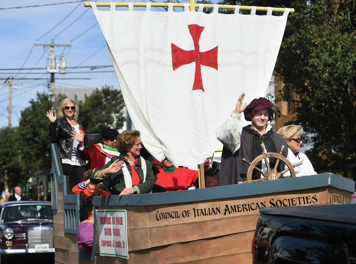 Zac Lindquist, of Quantico, VA, pilots the Santa Maria as Christopher Columbus in the 111th Annual Columbus Day Parade on Madison Avenue in Bridgeport, Conn. on Sunday, October 13, 2019.