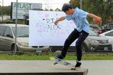 Lee Cooper, of Fairfield, does a trick at Milford Skate Park, which was renamed the Alexander Jordan Jamieson Memorial Skate Park at an event held in honor of him in Milford, Conn., on Saturday Oct. 12, 2019. AJ was a popular Milford teen who committed suicide earlier this year due to depression. Some of the event highlights included live music, night skating, food trucks and advocates for help dealing with depression and suicidal thoughts.