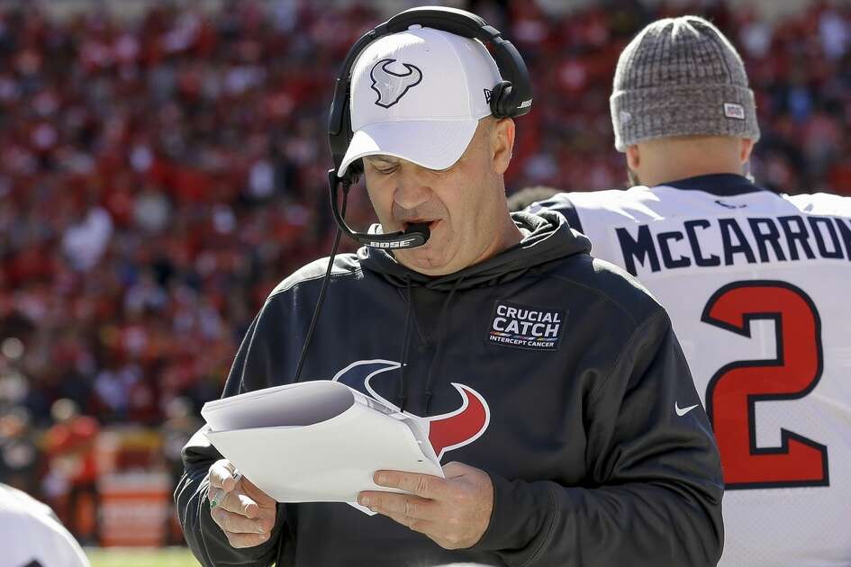 Houston Texans head coach Bill O'Brienon on the sidelines during the fourth quarter of an NFL game against the Kansas City Chiefs at Arrowhead Stadium Sunday, Oct. 13, 2019, in Kansas City, Mo. The Texans won 31-24.
