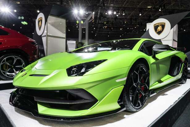 A Lamborghini Aventador is displayed during the 2019 New York International Auto Show in New York on Thursday, April 18, 2019.