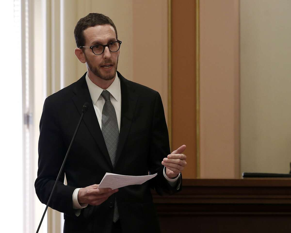 FILE - In this Sept. 11, 2019 file photo Democratic state Sen. Scott Wiener addresses the state Senate at the Capitol in Sacramento, Calif. Gov. Gavin Newsom signed Wiener's bill, SB159, Monday, Oct. 7, 2019 authorizing pharmacists to sell HIV preventative medications to patients without a physician's prescription. (AP Photo/Rich Pedroncelli,File)