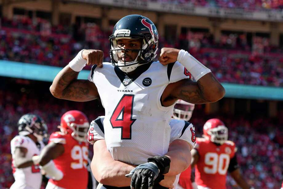 Houston Texans quarterback Deshaun Watson (4) celebrates his touchdown against the Kansas City Chiefs during the second half of an NFL football game in Kansas City, Mo., Sunday, Oct. 13, 2019. Photo: Ed Zurga, FRE / Associated Press / Copyright 2019 The Associated Press. All rights reserved
