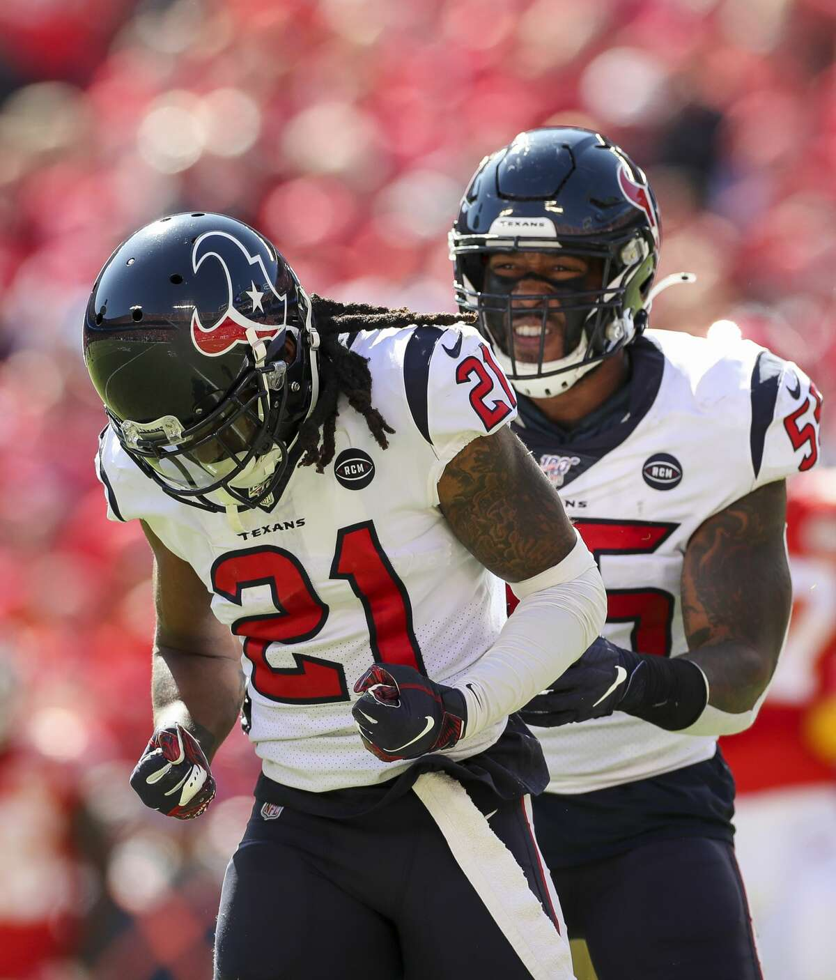 Houston Texans cornerback Bradley Roby (21) reacts after nearly intercepting a pass by Kansas City Chiefs quarterback Patrick Mahomes during the second quarter of an NFL game at Arrowhead Stadium Sunday, Oct. 13, 2019, in Kansas City, Mo. The Texas won 31-24.