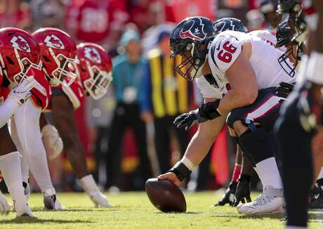 Houston Texans center Nick Martin (66) waits to snap the ball against the Kansas City Chiefs during the fourth quarter of an NFL game at Arrowhead Stadium Sunday, Oct. 13, 2019, in Kansas City, Mo. The Texans won 31-24.