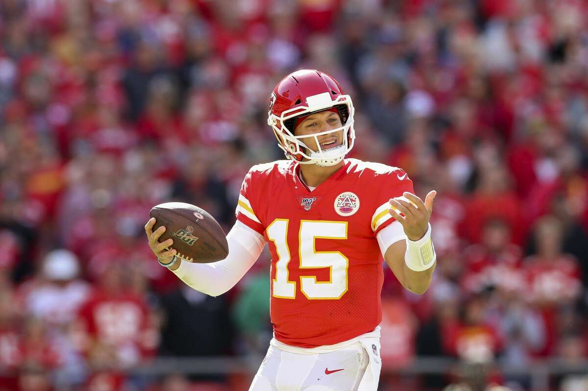 Patrick Mahomes, reacting to a penalty call against the Texans in October, can make all the plays at quarterback.