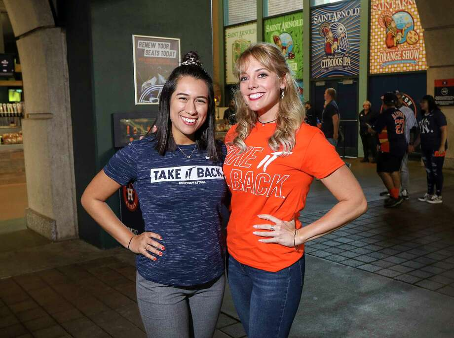 PHOTOS: A look at Astros fans at Game 2 of the ALCS Fans pose for a photo before Game 2 of the American League Championship Series at Minute Maid Park on Sunday, Oct. 13, 2019, in Houston. Browse through the photos above for a look at Astros fans at Minute Maid Park on Sunday night ... Photo: Jon Shapley, Staff Photographer / © 2019 Houston Chronicle