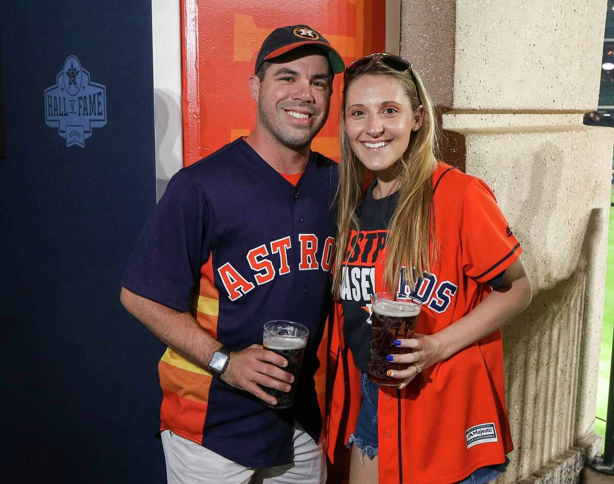 Fans pose for a photo before Game 2 of the American League Championship Series at Minute Maid Park on Sunday, Oct. 13, 2019, in Houston.