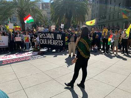 SF protesters support Kurds under attack in Syria, oppose US withdrawal