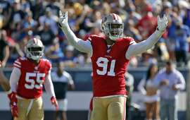 San Francisco 49ers defensive end Arik Armstead during the second half of an NFL football game against the Los Angeles Rams Sunday, Oct. 13, 2019, in Los Angeles. (AP Photo/John Locher)