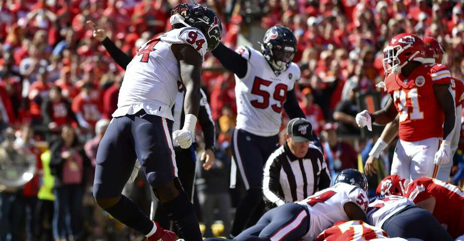 Houston Texans defensive end Charles Omenihu (94) celebrates after causing Kansas City Chiefs quarterback Patrick Mahomes to fumble the ball for a turnover, during the first half of an NFL football game in Kansas City, Mo., Sunday, Oct. 13, 2019. (AP Photo/Ed Zurga) Photo: Ed Zurga/Associated Press