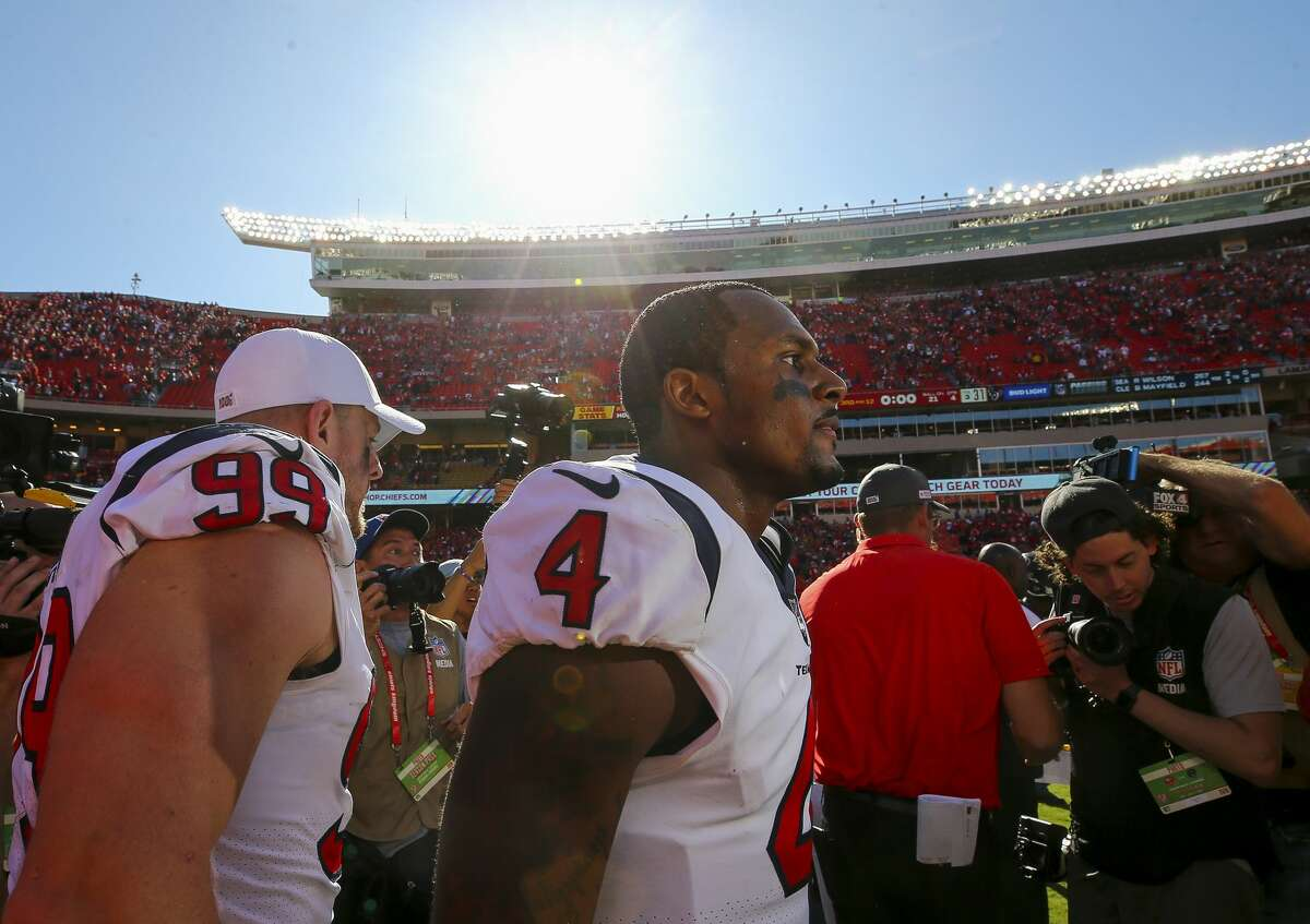 Houston Texans quarterback Deshaun Watson (4) walks off the field after defeating the Kansas City Chiefs 31-24 at Arrowhead Stadium Sunday, Oct. 13, 2019, in Kansas City, Mo.