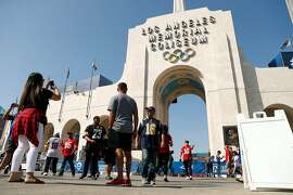 Fans gather before San Francisco 49ers playLos Angeles Rams during NFL game at Los Angeles Coliseum in Los Angeles, Calif., on Sunday, October 13, 2019.