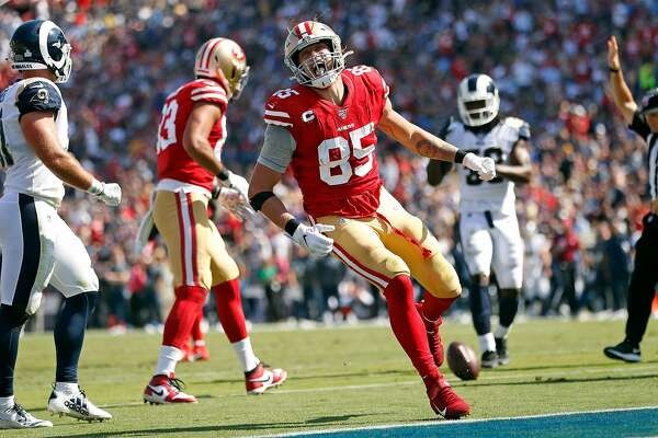 San Francisco 49ers' George Kittle celebrates a 2nd quarter reception against Los Angeles Rams during NFL game at Los Angeles Coliseum in Los Angeles, Calif., on Sunday, October 13, 2019.