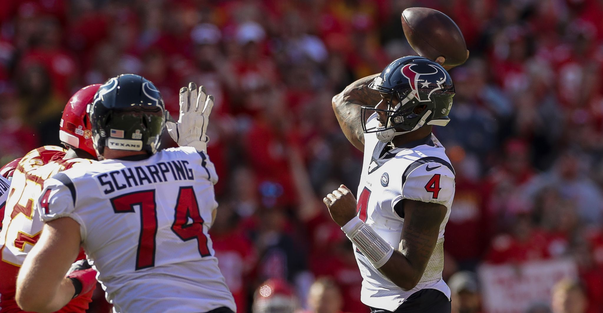 Texans' Deshaun Watson not sacked for second week in a row
