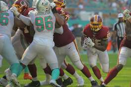 Washington Redskins running back Adrian Peterson had 23 carries for 118 yards in the 17-16 victory over the Dolphins at Hard Rock Stadium in Miami Gardens, Florida, on Sunday, Oct. 13, 2019.