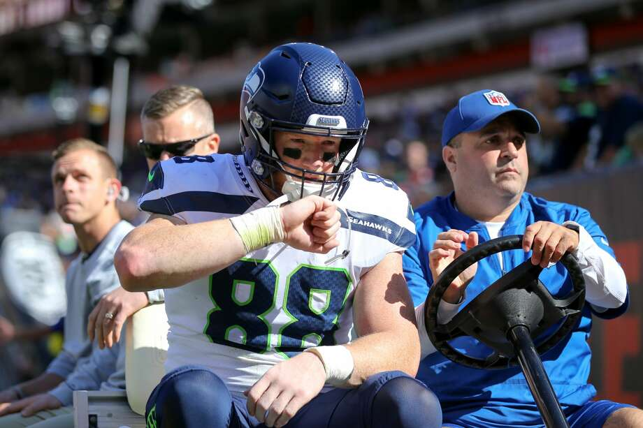 """Seahawks coach Pete Carroll told reporters this week that tight end Will Dissly had an """"incredible"""" offseason rehabbing his torn Achilles. Photo: Frank Jansky/Icon Sportswire Via Getty Images / ©Icon Sportswire (A Division of XML Team Solutions) All Rights Reserved"""