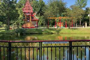A man-made pond on the property of Wat Angkorchum Cambodian Buddhist Temple on Kuykendahl Road, Sunday afternoon. A four-year-old girl was taken from the temple by Life Flight to Memorial Hermann Hospital in the Texas Medical Center, after she was found in a made-made pond on the temple property. He shoes were found in this area.